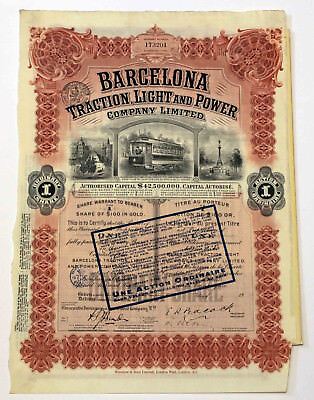 Historisches Aktie  BARCELONA Traction, Light and Power Company Ltd.