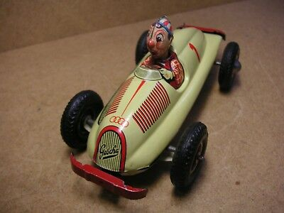 "Gescha Auto Union Clown ""OH LALA"" Renner Germany Tin Racer Tole Latta Auto Corsa"