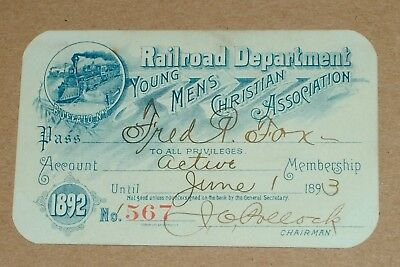 **early 1892 Railroad Department Young Mens Christian Association Member Pass**