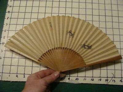 Vintage Original: JAPANESE FAN early hand painted  -- CRABS --