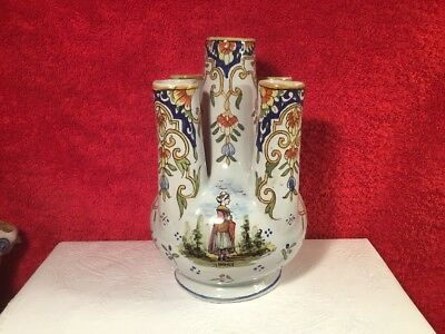 Antique 5 Finger Vase French Faience Hand Painted c1900, ff670 ANTIQUE GIFT!!