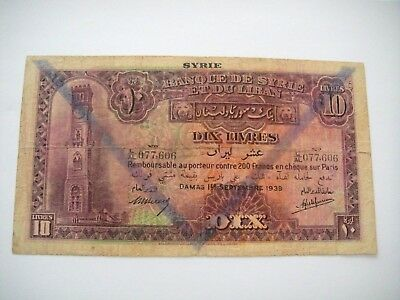 SYRIE & LIBAN 10 Livres  1939 F  /*606