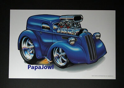 """(5) Drag Racing Muscle Machines Prints Art Drawn By Rohan Day 11"""" by 17"""""""
