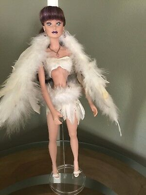 "Paradise Galleries Butterfly Ring Doll Fashion Feathers ""GiGI""  18' with stand"
