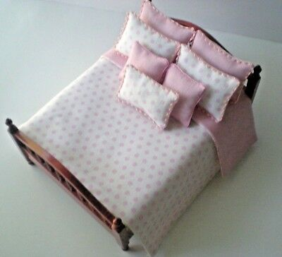 Dollhouse Miniature Handmade Pink & White Dotted Bedspread & 7 Pillows