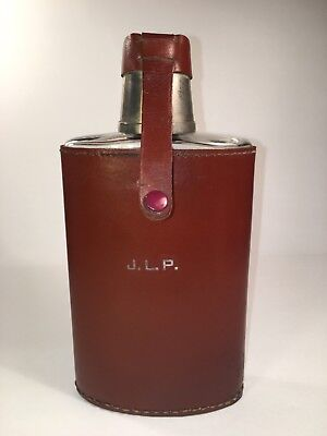 Rumpp Leather Glass Flask Brown Stainless Steel Cap