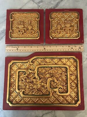 Set of Three Chinese Carved Red/Gold Painted Panels