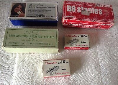 Lot of 5 Vintage Boxes of Staples Bostitch B8 Swingline Chisel pointed SB 19 1/4
