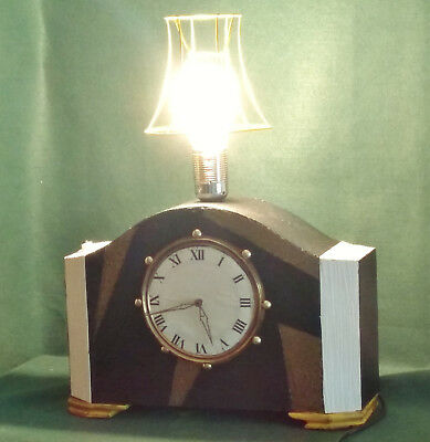 Vintage Electric Mantel Clock Lamp hand crafted