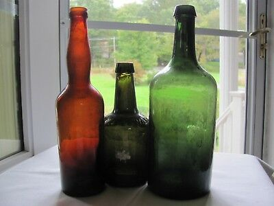Lot Of Three Bottles: Beer, Mineral Water And Wine Nice Colors!