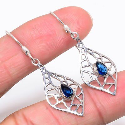 Charming Blue Topaz Gemstone 925 Sterling Silver Earring 1.97""