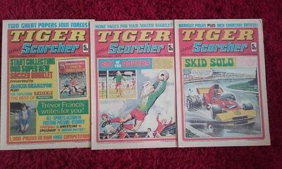 3 x TIGER and SCORCHER 12 19 26 October 1974 First 1st Issue Complete Month