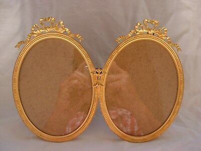 ANTIQUE FRENCH GILT BRONZE DOUBLE PHOTO FRAMES,LOUIS XVI STYLE,LATE 19th.