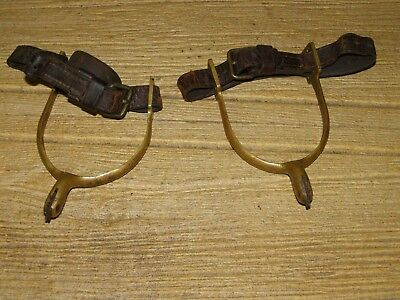 M1903 U.S.Cavalry Brass Spurs with Original Leather Straps, R.I.A. & Unit Marked