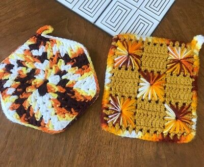 Lot 2 Vintage Hand Made Crochet Kitchen Mid Centuiry Pot Holders Hot Pads