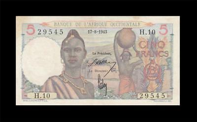 17.8.1943 FRENCH WEST AFRICA 5 FRANCS **RARE** (( aUNC ))