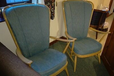 Pair Of Vintage Ercol Evergreen  Light Wood Armchairs High Back Original