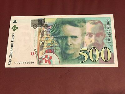 France French Bank Note Of 500 Francs Marie Pierre Currie Aunc 1994 Unc Prefix A