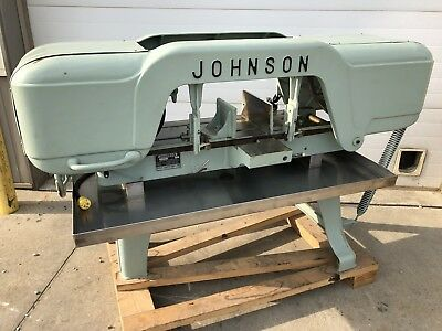 "Used Johnson Model J 10""x20"" Horizontal Bandsaw Stainless Pan 110v"