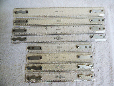 Vintage Drafting Machine Scales Lot of 8 Scales Keuffel & Esser DIETZGEN Bruning