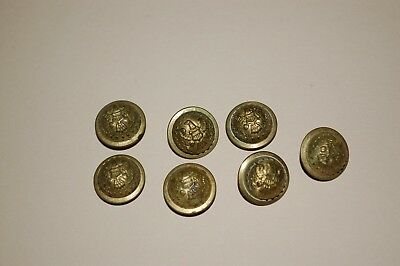 LOT OF 7 Old Military Brass Buttons Eagle Shield Branches 1/2 inch wide Sew  On