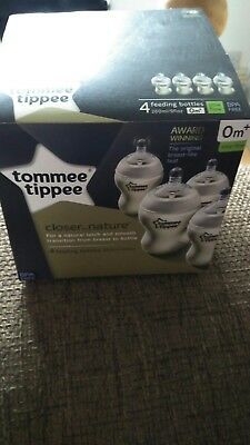 4 x Tommee Tippee Closer to Nature Baby Feeding Bottles 260ml/9oz 0m+ Slow Flow