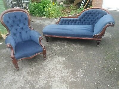 Victorian Mahogany Buttoned Backed Blue Upholstered Chaise Longue And Armchair