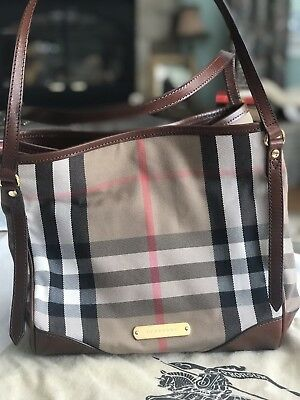 4b321239f5a1 AUTHENTIC BURBERRY SMALL Bridle House Check Canterbury Tote ...