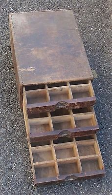 Bench Top Vtg Chest Cabinet Antique 3 Drawer File Wooden Multi Sections