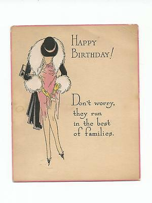Vintage Greeting Card Birthday RISQUE 1920's Leggy Gal Fixing Nylons BAD Cond.