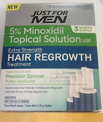 Just For Men Hair Regrowth Treatment, 3 Month Supply, 6 Fluid Ounce exp 2019