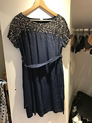 maternity dress size 12 Mamas And Papas Wedding Party Cocktail Navy With Gold
