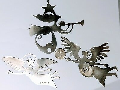 Rare Stainless Steel Angel ornaments by Don Drumm Studios