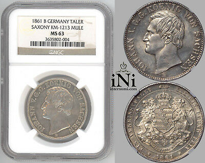 iNi  GERMANY SAXONY, Johann, Taler 1861, VERY RARE, Mule, Top Pop, NGC MS 63