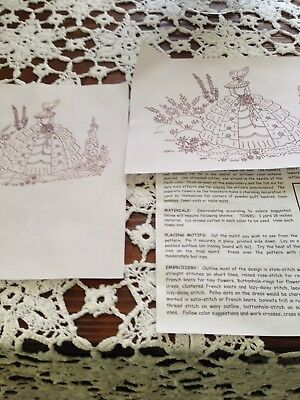 Southern Belle lady Hot Iron Embroidery Transfer Pattern