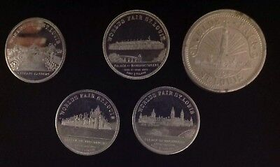 4 Piece Set 1904 Worlds Fair Silver Tokens Of The Louisiana Purchase Exposition
