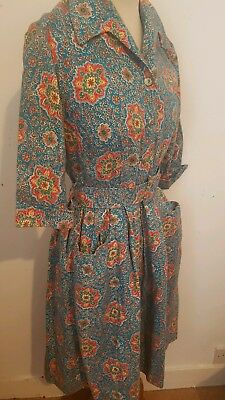 Fab Vintage original 1940's 50's Handmade Floral Print Cotton Fit & Flare Dress