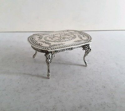 PRETTY,  MINIATURE ANTIQUE SOLID SILVER MODEL.- FRENCH STYLE TABLE.   c.1905.