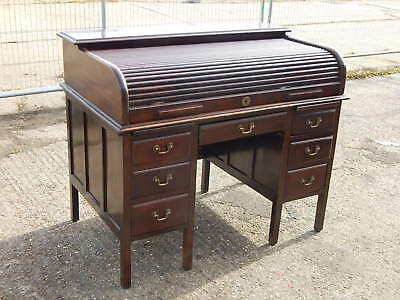 Antique Edgleys twin pedestal roll top office desk with seven drawers  knee hole