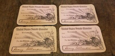 1972 United State Senate Chamber - Visitor Pass signed by Henry Bellman