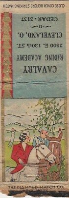 Cavalry Riding Academy 2500 E. 130th St. Cleveland Ohio OH Vintage Matchcover