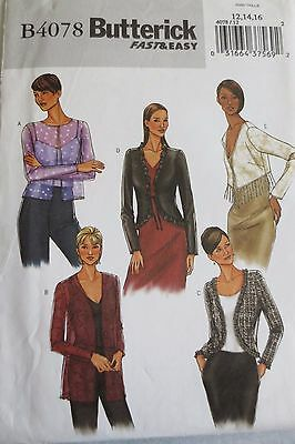 Butterick  B 4078  sewing pattern, misses jacket size 12-14-16, New