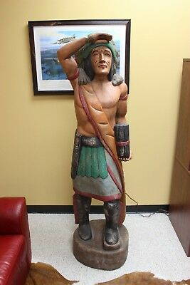 6' Tall Vintage Hand-Carved Wooden Cigar Store Indian Statue- Great Condition!