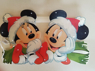 "DISNEY Mickey & Minnie Mouse Lighted Christmas Window Decoration 19"" x 12"""