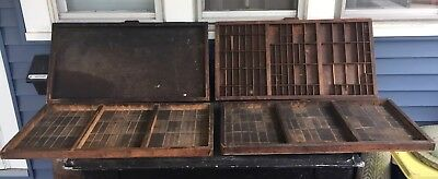 4 Antique HAMILTON PRINTERS TYPESET DRAWER Wood Tray Shadow Box Lot Project