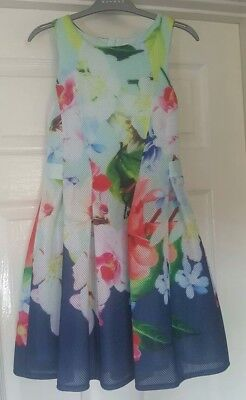 Girls Ted baker Beautiful Floral Navy Multi Dress Aged 8-9 Years worn once
