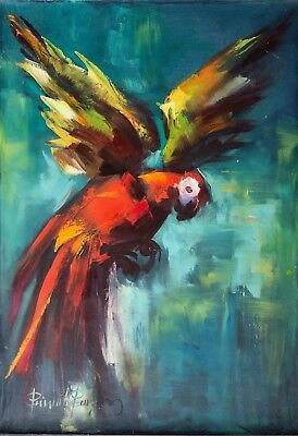 Original Oil Painting Parrot by Peñuela Pinzon from Colombia