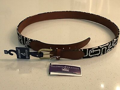 NWT Smathers /& Branson Woolrich Belt Black White Needlepoint Sz 32 Sheep