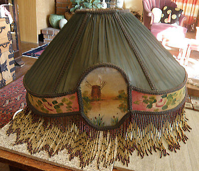 Antique Handpainted Silk,Fabric Lamp Shade with  Beaded Fringe, Windmill,Roses