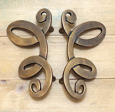 "5.70"" Set of 2 pcs Vintage Strip Winding Butterfly Solid Brass Cabinet KNOB Pull"